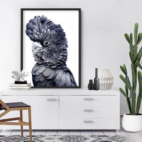 Black Cockatoo (Indigo & black) - Art Print, Stretched Canvas, or Framed Canvas Wall Art
