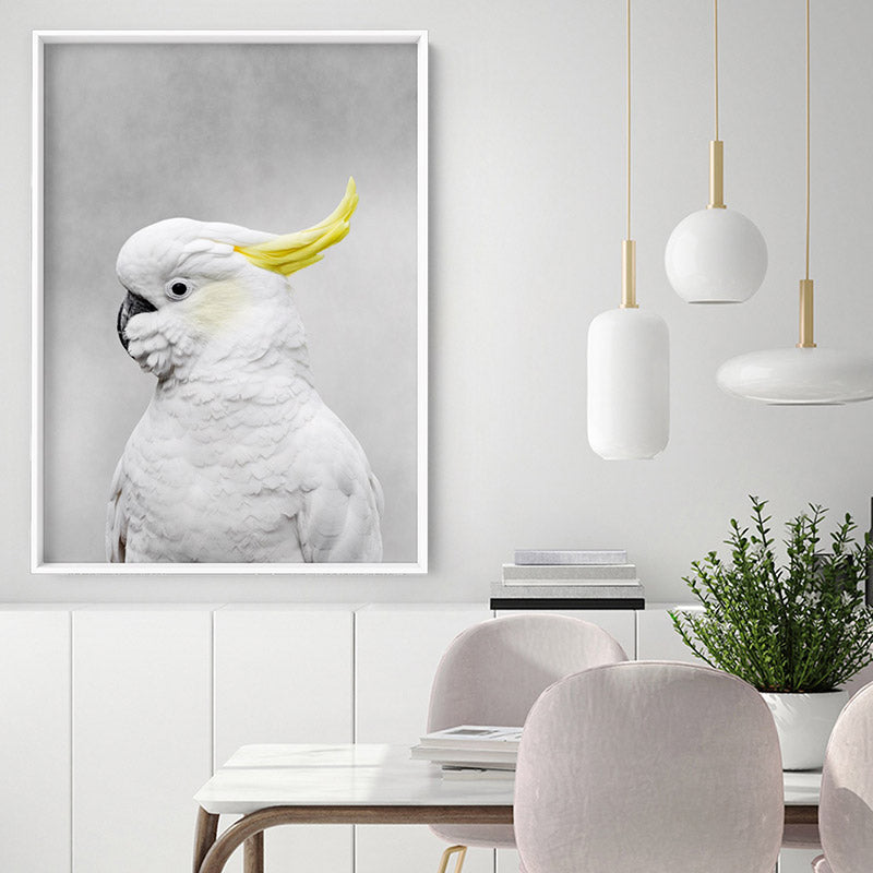 White Sulphur Crested Cockatoo I - Art Print, Stretched Canvas, or Framed Canvas Wall Art