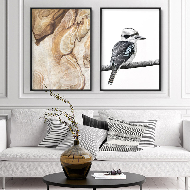 Load image into Gallery viewer, Kookaburra on Branch - Art Print, Stretched Canvas or Framed Canvas Wall Art, Shown framed in a room mockup
