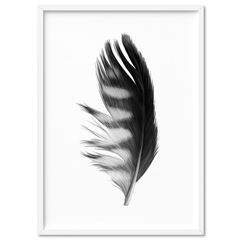 Feather Black & White III - Art Print, Stretched Canvas, or Framed Canvas Wall Art