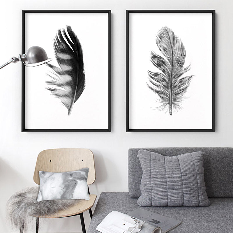 Feather Black & White III - Art Print, Stretched Canvas or Framed Canvas Wall Art, Shown framed in a room mockup