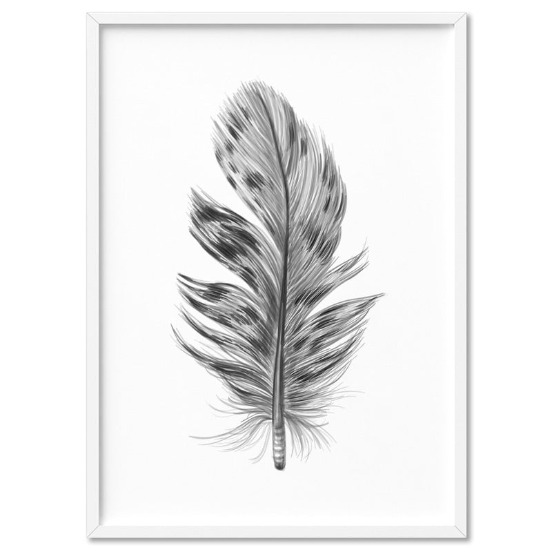 Feather Black & White IV- Art Print