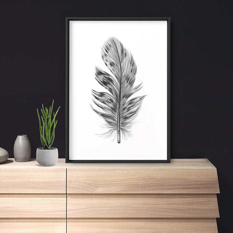 Feather Black & White IV- Art Print, Stretched Canvas, or Framed Canvas Wall Art