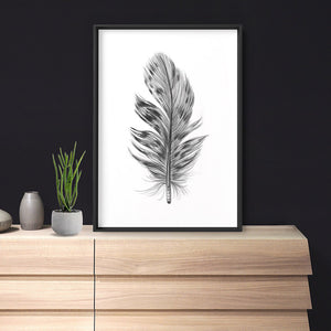 Feather Black & White IV- Art Print, Stretched Canvas or Framed Canvas Wall Art, Shown inside a frame