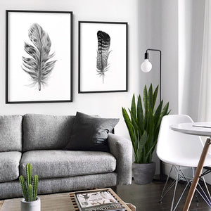 Feather Black & White IV- Art Print, Stretched Canvas or Framed Canvas Wall Art, Shown framed in a room mockup
