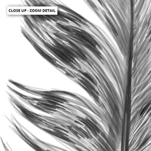 Feather Black & White IV- Art Print, Stretched Canvas or Framed Canvas Wall Art, Close up View of Print Resolution