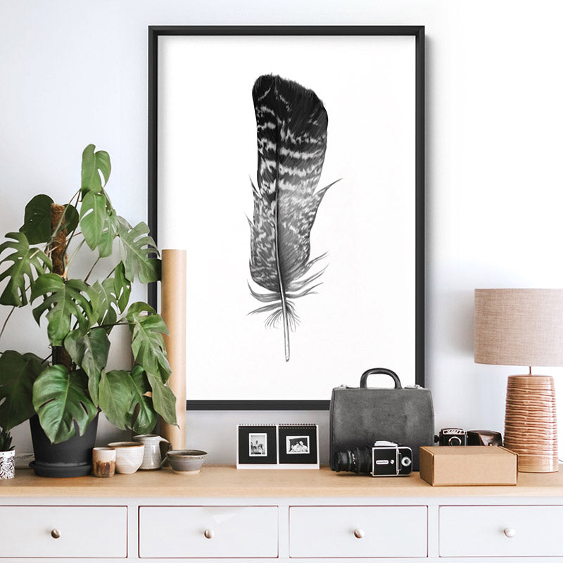 Feather Black & White V- Art Print, Stretched Canvas, or Framed Canvas Wall Art