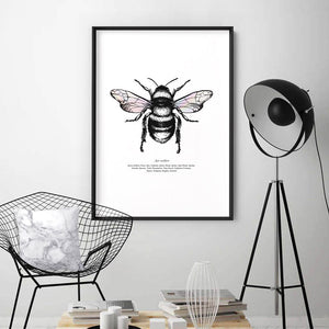 Honey Bee with Holo Wings - Art Print, Stretched Canvas or Framed Canvas Wall Art, Shown inside a frame