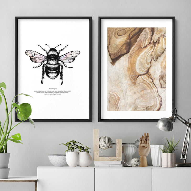 Honey Bee with Holo Wings - Art Print, Stretched Canvas or Framed Canvas Wall Art, Shown framed in a room mockup