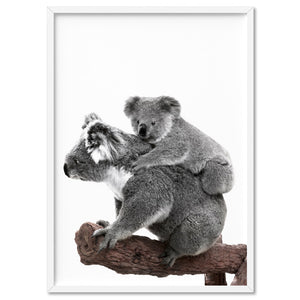 Koala Mother and Baby - Art Print, Stretched Canvas, or Framed Canvas Wall Art
