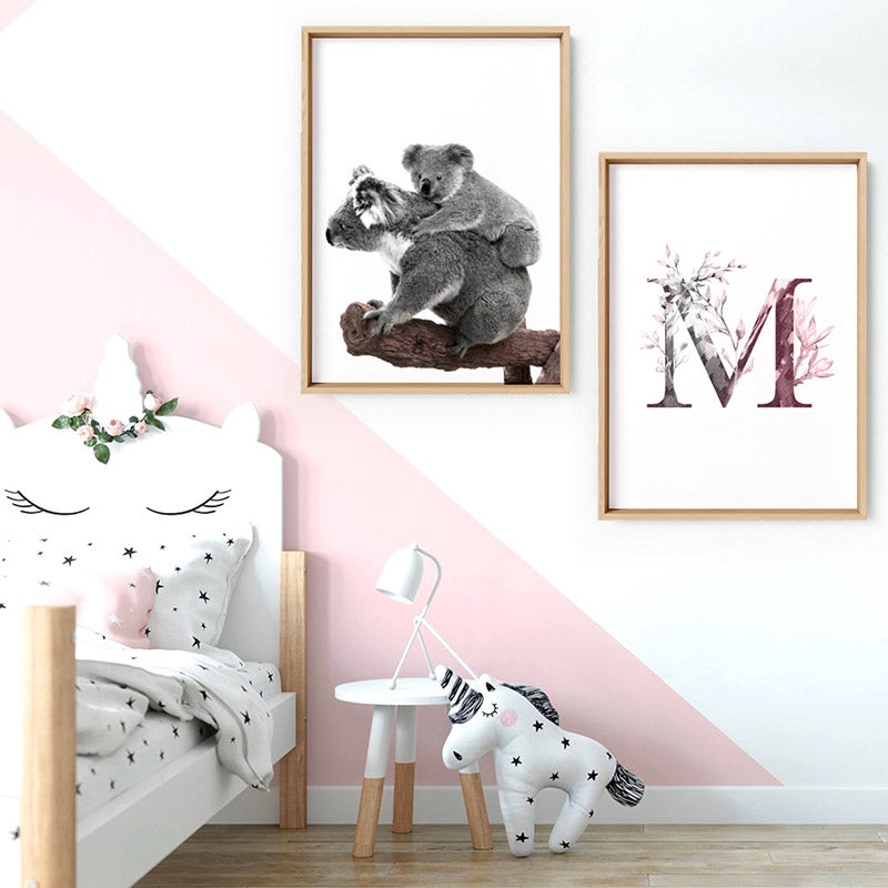 Koala Mother and Baby - Art Print, Stretched Canvas or Framed Canvas Wall Art, Shown framed in a room mockup