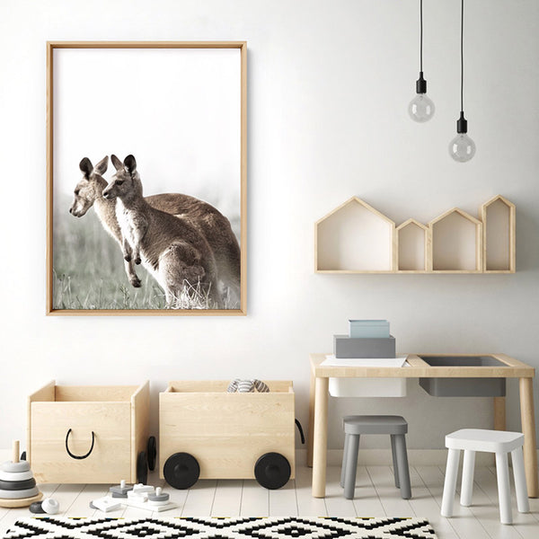 Kangaroo Mother and Baby Joey - Art Print, Stretched Canvas, or Framed Canvas Wall Art