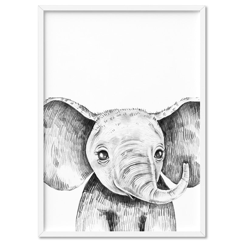 Elephant Baby Peek a Boo Animal - Art Print