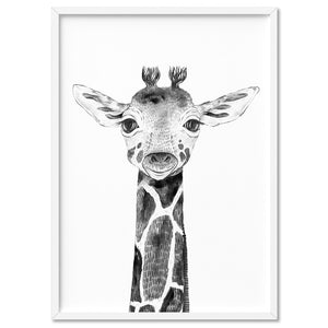 Giraffe Baby Peek a Boo Animal - Art Print, Stretched Canvas, or Framed Canvas Wall Art