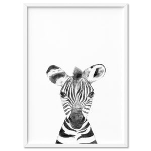 Zebra Baby Peek a Boo Animal - Art Print, Stretched Canvas, or Framed Canvas Wall Art
