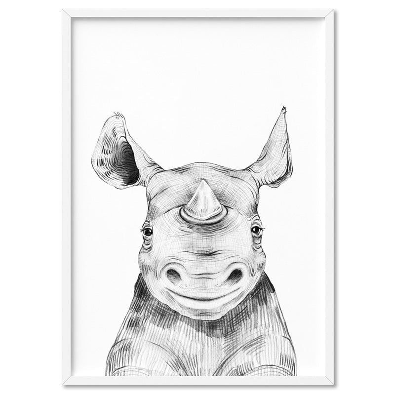 Rhino Baby Peek a Boo Animal - Art Print