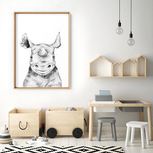 Rhino Baby Peek a Boo Animal - Art Print, Stretched Canvas or Framed Canvas Wall Art, Shown inside a frame