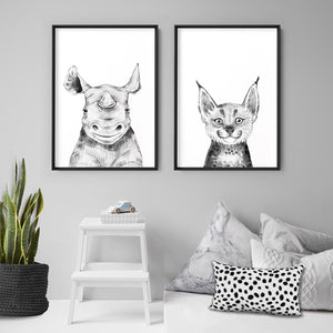 Rhino Baby Peek a Boo Animal - Art Print, Stretched Canvas or Framed Canvas Wall Art, Shown framed in a room mockup