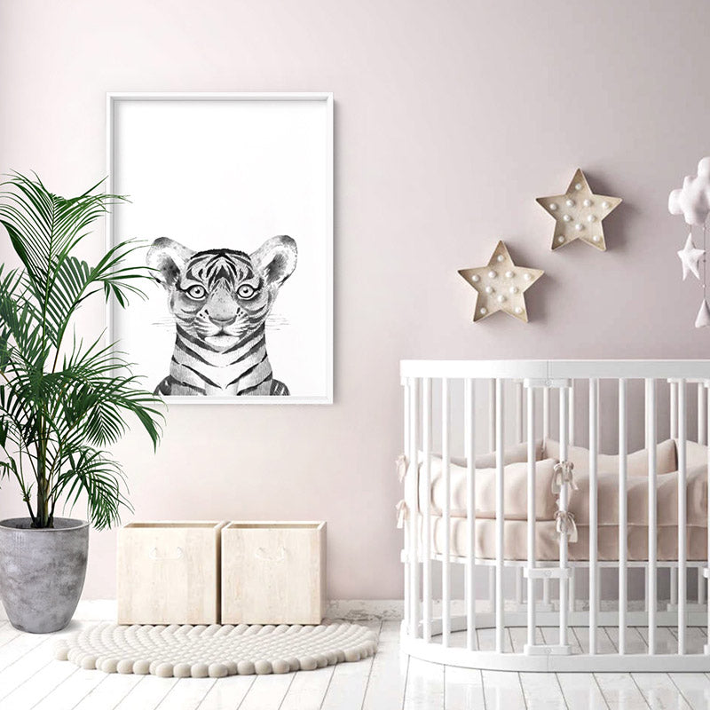 Tiger Baby Peek a Boo Animal - Art Print, Stretched Canvas or Framed Canvas Wall Art, Shown inside a frame