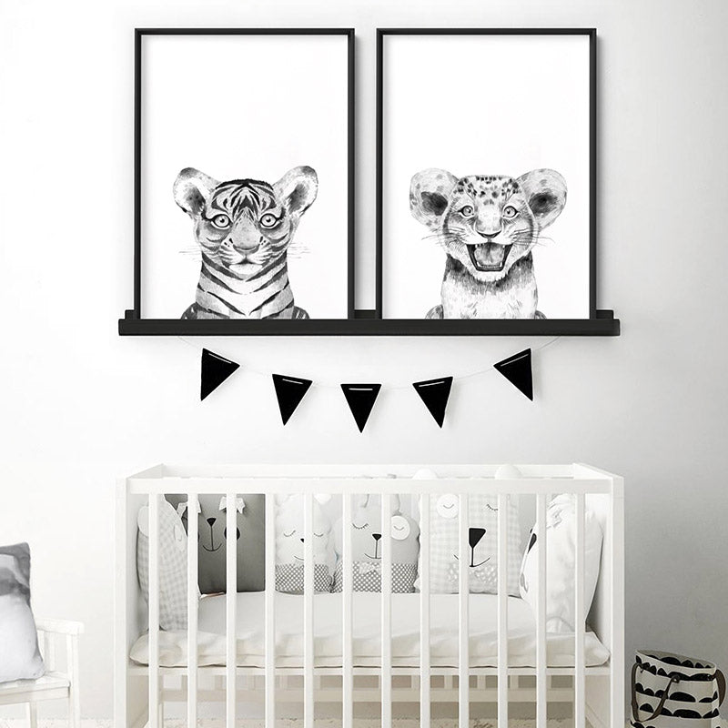 Tiger Baby Peek a Boo Animal - Art Print, Stretched Canvas or Framed Canvas Wall Art, Shown framed in a room mockup