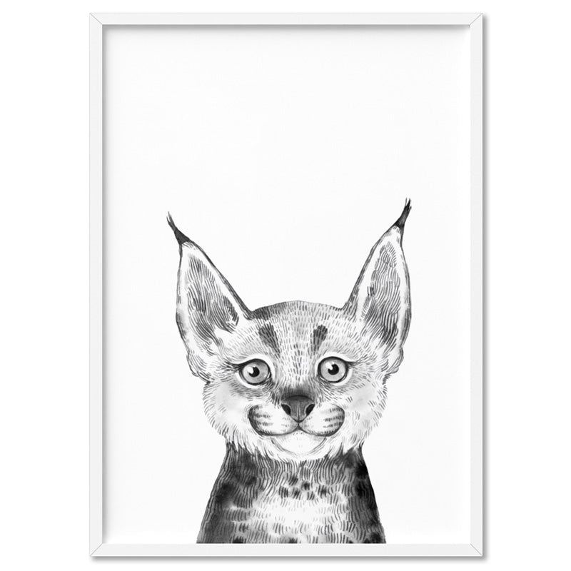Bobcat Baby Peek a Boo Animal - Art Print, Stretched Canvas, or Framed Canvas Wall Art
