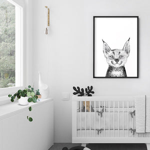 Bobcat Baby Peek a Boo Animal - Art Print, Stretched Canvas or Framed Canvas Wall Art, Shown inside a frame