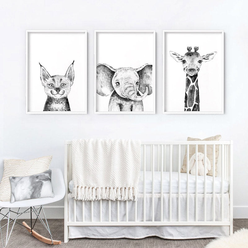 Bobcat Baby Peek a Boo Animal - Art Print, Stretched Canvas or Framed Canvas Wall Art, Shown framed in a room mockup