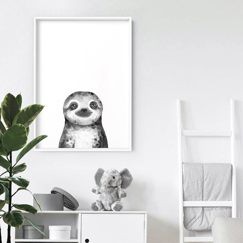 Sloth Baby Peek a Boo Animal - Art Print, Stretched Canvas or Framed Canvas Wall Art, Shown inside a frame