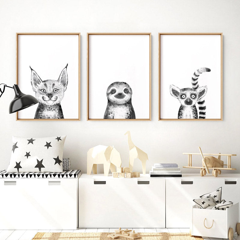 Sloth Baby Peek a Boo Animal - Art Print, Stretched Canvas or Framed Canvas Wall Art, Shown framed in a room mockup