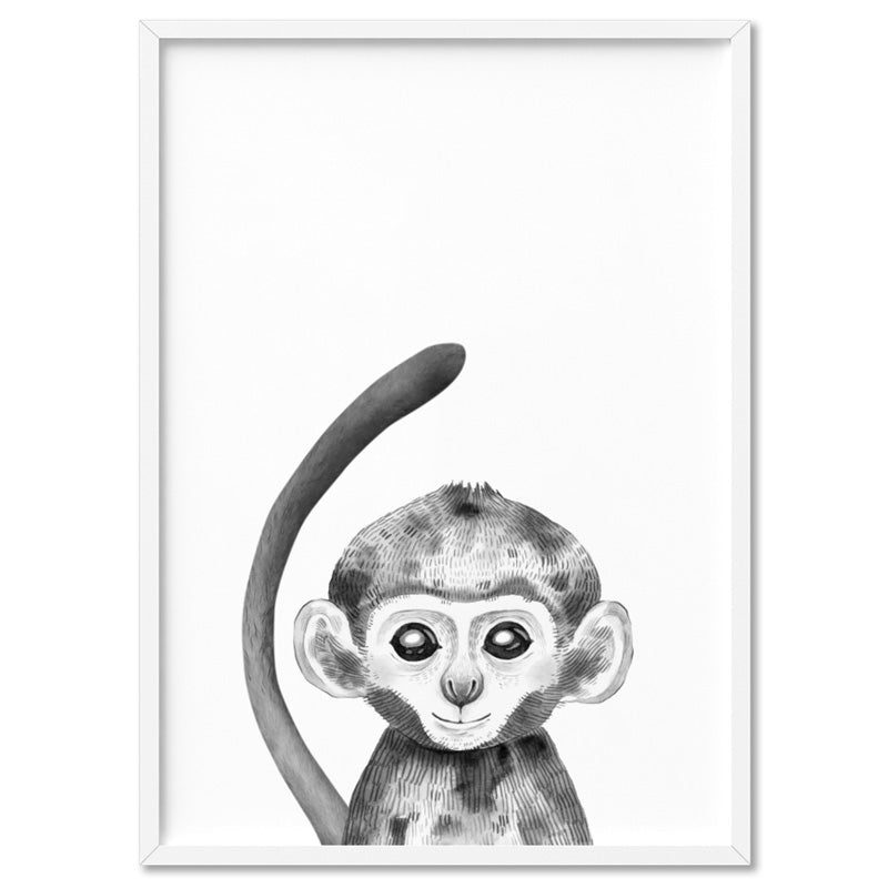 Load image into Gallery viewer, Monkey Baby Peek a Boo Animal - Art Print, Stretched Canvas, or Framed Canvas Wall Art