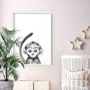 Load image into Gallery viewer, Monkey Baby Peek a Boo Animal - Art Print, Stretched Canvas or Framed Canvas Wall Art, Shown inside a frame