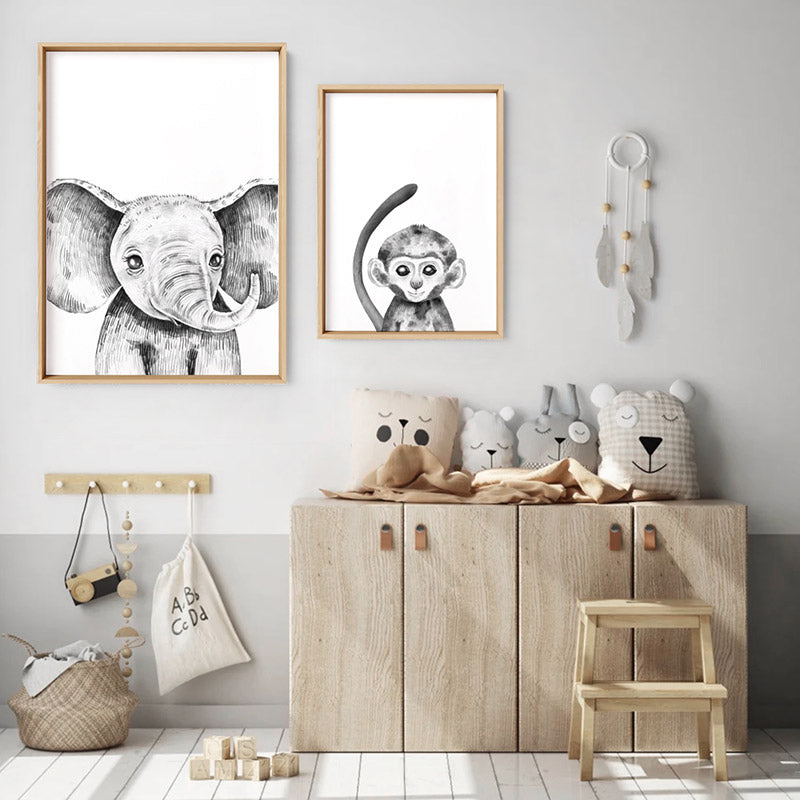 Monkey Baby Peek a Boo Animal - Art Print, Stretched Canvas, or Framed Canvas Wall Art