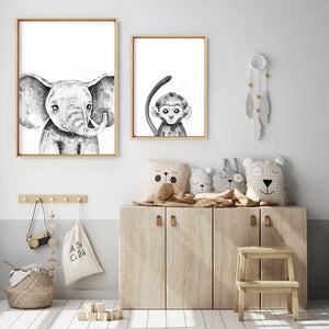 Load image into Gallery viewer, Monkey Baby Peek a Boo Animal - Art Print, Stretched Canvas or Framed Canvas Wall Art, Shown framed in a room mockup