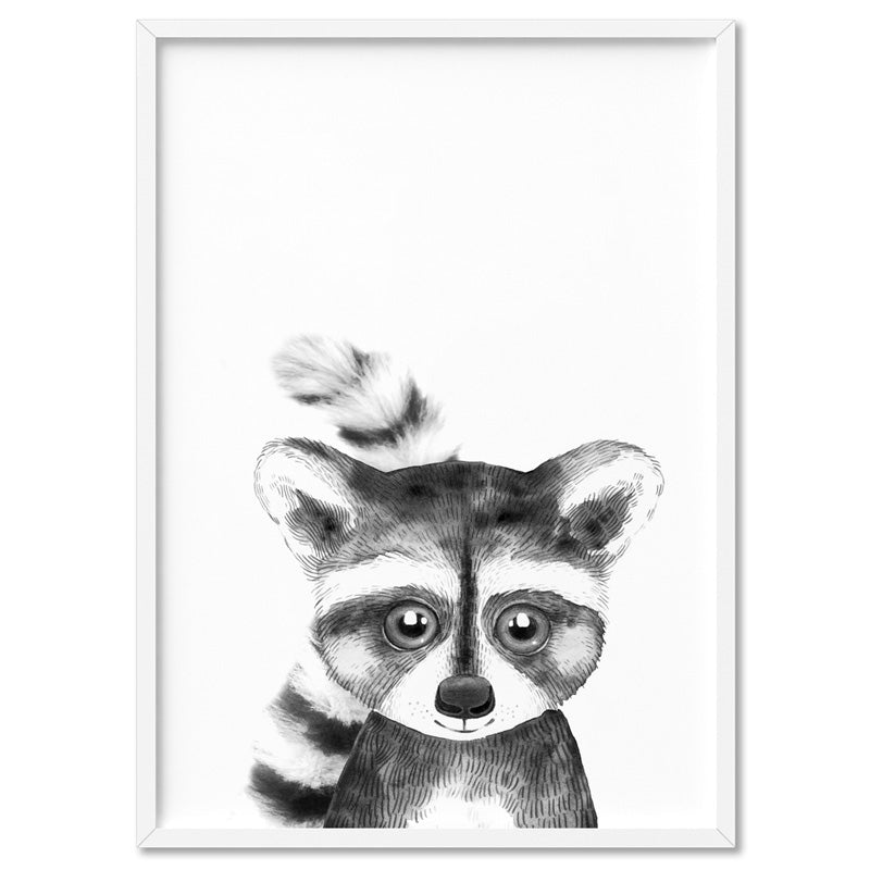 Raccoon Baby Peek a Boo Animal - Art Print, Stretched Canvas, or Framed Canvas Wall Art
