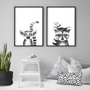 Raccoon Baby Peek a Boo Animal - Art Print, Stretched Canvas or Framed Canvas Wall Art, Shown framed in a room mockup