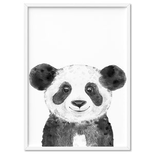 Panda Baby Peek a Boo Animal - Art Print, Stretched Canvas, or Framed Canvas Wall Art