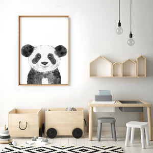 Panda Baby Peek a Boo Animal - Art Print, Stretched Canvas or Framed Canvas Wall Art, Shown inside a frame