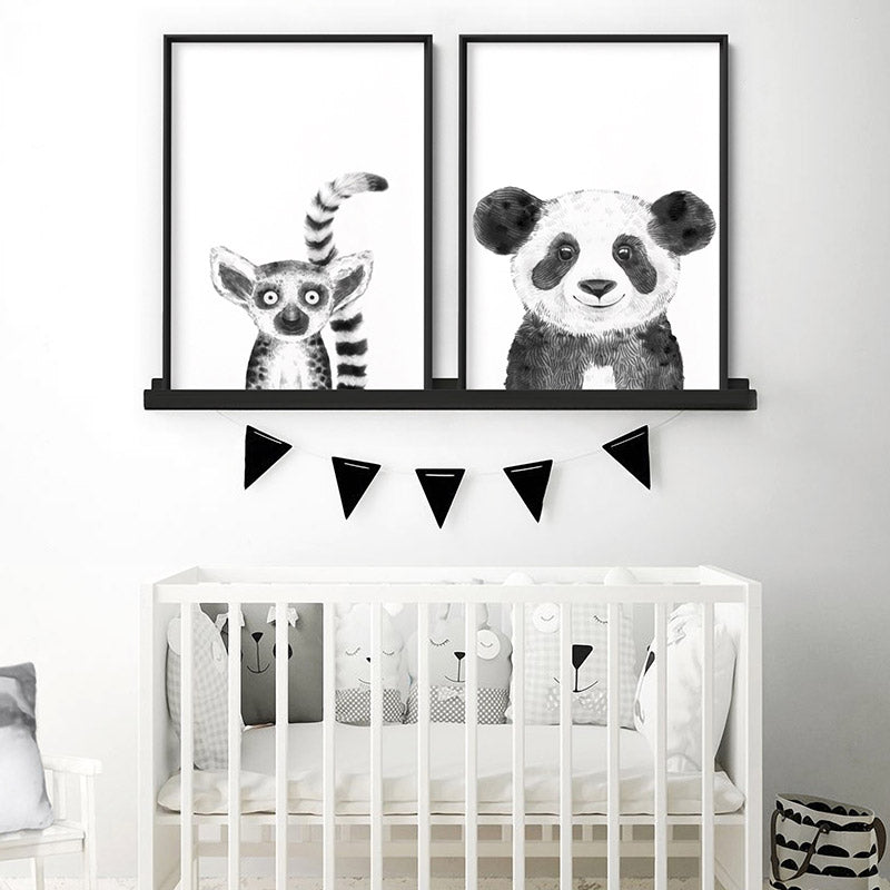 Panda Baby Peek a Boo Animal - Art Print, Stretched Canvas or Framed Canvas Wall Art, Shown framed in a room mockup