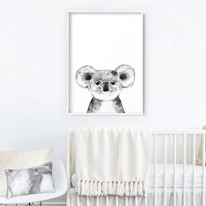 Koala Baby Peek a Boo Animal - Art Print, Stretched Canvas or Framed Canvas Wall Art, Shown inside a frame