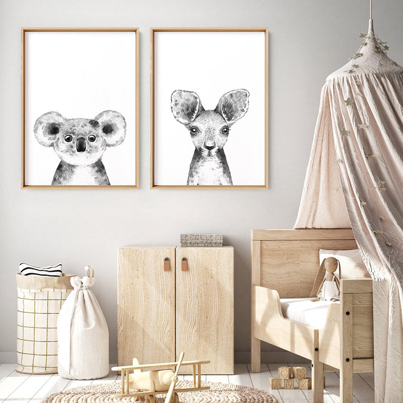 Load image into Gallery viewer, Koala Baby Peek a Boo Animal - Art Print, Stretched Canvas or Framed Canvas Wall Art, Shown framed in a room mockup