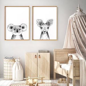 Koala Baby Peek a Boo Animal - Art Print, Stretched Canvas or Framed Canvas Wall Art, Shown framed in a room mockup
