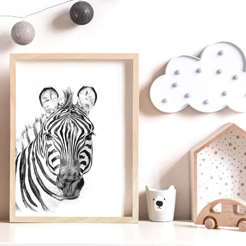 On Safari | Zebra Sketch - Art Print, Stretched Canvas or Framed Canvas Wall Art, Shown inside a frame
