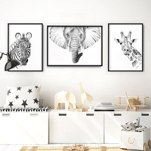 On Safari | Zebra Sketch - Art Print, Stretched Canvas or Framed Canvas Wall Art, Shown framed in a room mockup