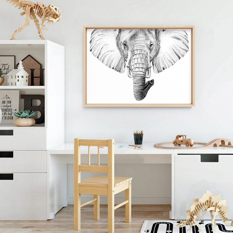 On Safari | Elephant Sketch - Art Print, Stretched Canvas or Framed Canvas Wall Art, Shown inside a frame