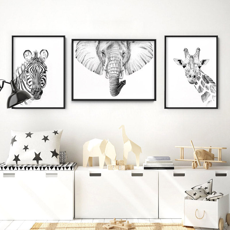 On Safari | Elephant Sketch - Art Print, Stretched Canvas or Framed Canvas Wall Art, Shown framed in a room mockup