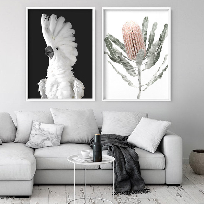 White Cockatoo on Charcoal Background - Art Print, Stretched Canvas or Framed Canvas Wall Art, Shown framed in a room mockup