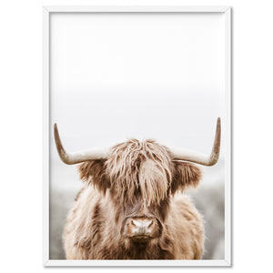 Highland Cow Portrait I - Art Print, Stretched Canvas, or Framed Canvas Wall Art