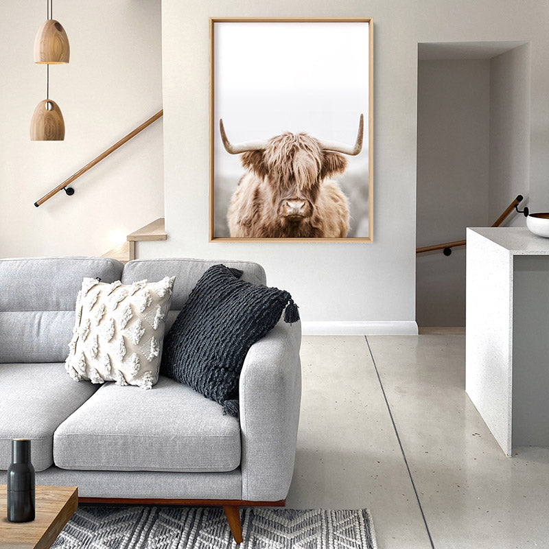 Highland Cow Portrait I - Art Print, Stretched Canvas or Framed Canvas Wall Art, Shown inside a frame