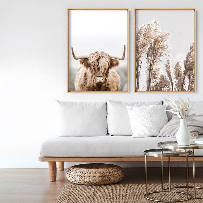 Highland Cow Portrait I - Art Print, Stretched Canvas or Framed Canvas Wall Art, Shown framed in a room mockup