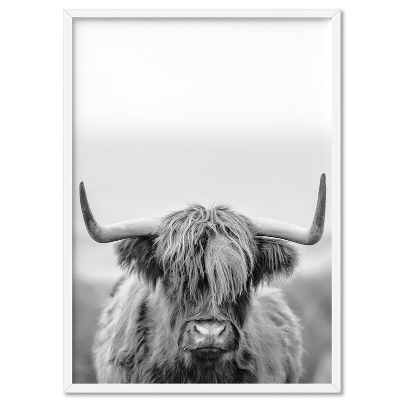 Highland Cow Portrait II B&W - Art Print, Stretched Canvas, or Framed Canvas Wall Art
